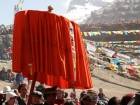 "Tibet, Purang, Tarboche (ca. 4670m), Kailash Kora: The ""Saga Dawa""-festival (enlightment of Buddha; 3rd fullmoon after the Tibetan new year) in the south of valley Lha Chu river (River of Gods), the Kailash in the back"