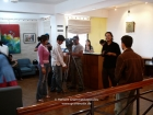 "Nepal, Central Region, Bagmati Zone, Kathmandu, Kamaladi, Gallery 32: Preparations for my interview with Kantipur TV's ""Life is beautiful"" by Brabha Amatya (lady in the pink shirt), Manish is ready for being interviewed"