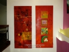 "Nepal, Central Region, Bagmati Zone, Kathmandu, Kamaladi, Gallery 32, inauguration of the exhibition ""Bells - Silence and Sounds"": Paintings of Manish Lal Shrestha; left ""Sound of Wisdom 1"" (75x180cm, 2006), right Sound of Wisdom 2"" ( 75x180cm, 2006)"
