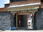 Tibet, Xizang/Drongpa, Drongpa Tradung (?, 200km west of Saga): gate of the Jadun Gompa on the hill above the village