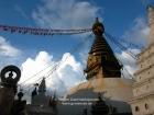 Nepal, Central Region, Bagmati Zone, Kathmandu, Swayambhou: The great stupa in the evening sun