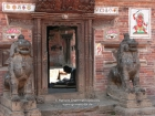 Nepal, Central Region, Bagmati Zone, Bhaktapur District, Nepal, Bhaktapur, Tadhunchen: Old man repairing his clothes inside the Tadhunchen Bahal Mandir