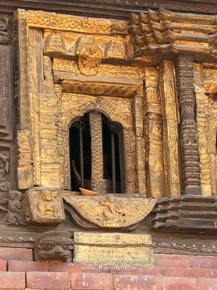 "Nepal, Central Region, Bagmati Zone, Bhaktapur District, Bhaktapur: ""Golden window"" of the Bhairabnath temple, Taumadhi Square"