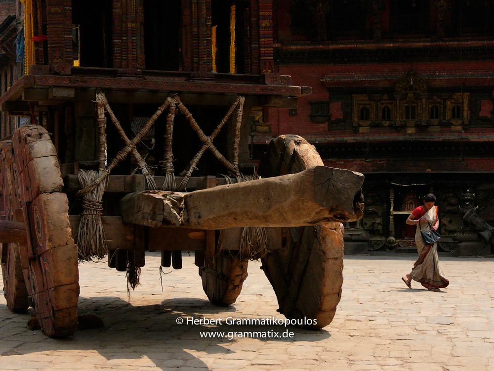 Nepal, Central Region, Bagmati Zone, Bhaktapur District, Bhaktapur, Taumadhi Square: The Bisket Jatra chariot, used for the celebrations of the Newari new year