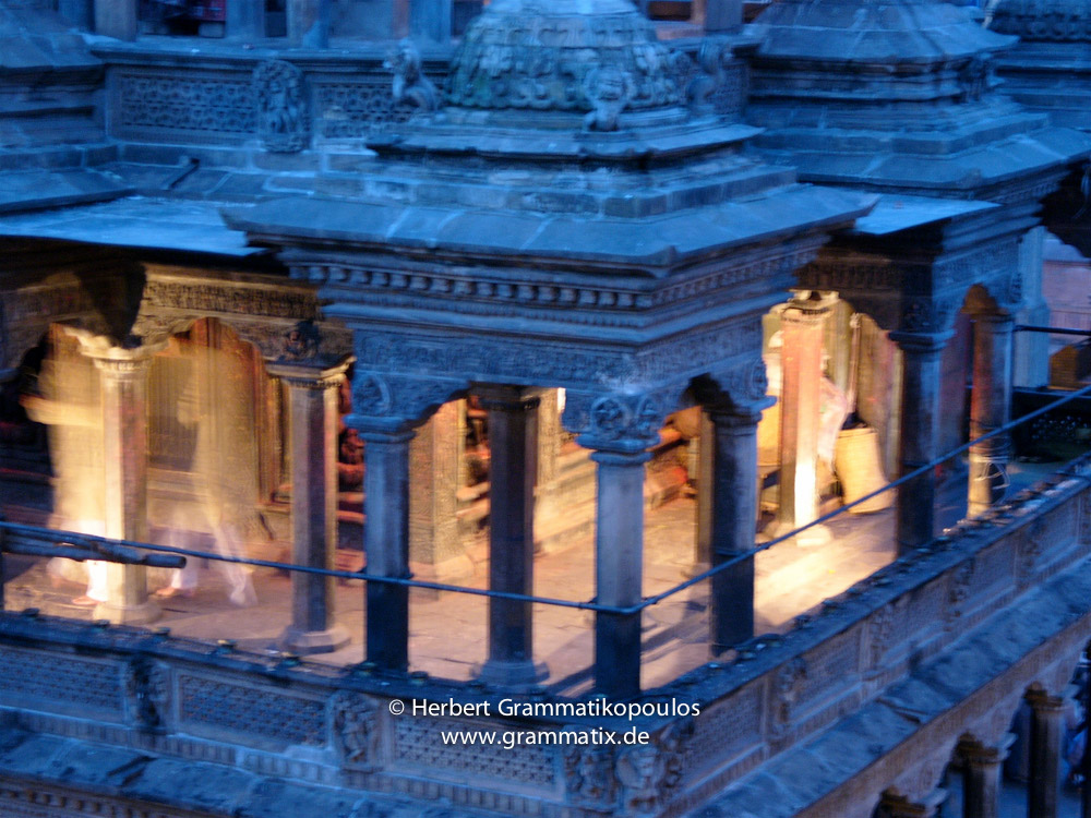 Nepal, Central Region, Bagmati Zone, Lalitpur, Patan, Durbar Square: Backside of Krishna temple at night (from Third World Restaurant)