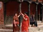 Nepal, Central Region, Bagmati Zone, Lalitpur District, Patan, Hakha: Newari-women having a chat near the Durbar Square