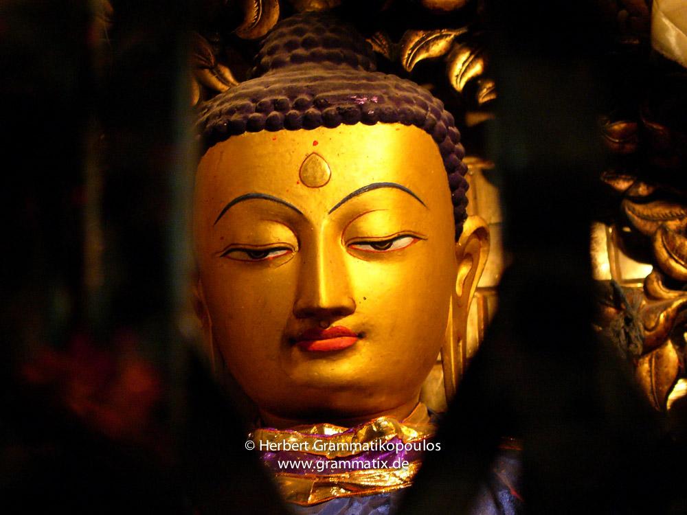 Nepal, Central Region, Bagmati Zone, Kathmandu, Swayambhou: Detail of a Buddha statue in one of the shrines of the great stupa