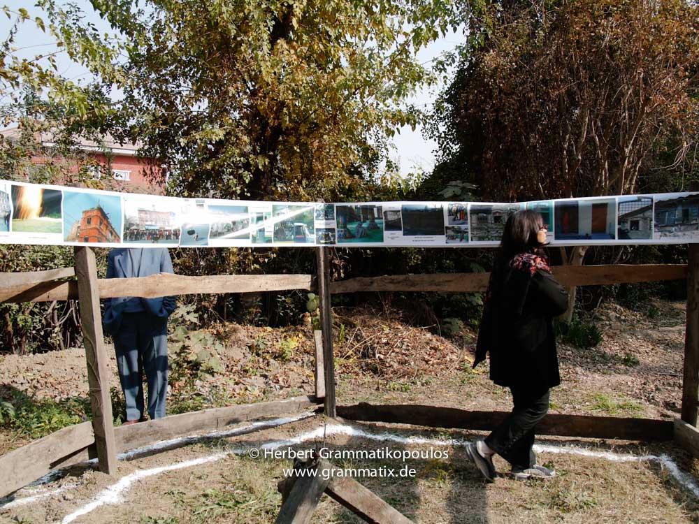 "India, Kashmir, Srinagar, Khoj International Artists Workshop 2007: Pooja Sood, Khoj Delhi visits the installation ""Fragile Hope"" of H.Grammatikopoulos (Greece)"