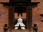 Nepal, Central Region, Bagmati Zone, Bhaktapur District, Bhaktapur: Glimpse into a Buddhist temple