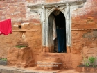 Nepal, Central Region, Bagmati Zone, Kathmandu, Teku: Door of an old house at the Bagmati river banks
