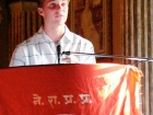 Nepal, Central Region, Bagmati Zone, Kathmandu, Bal Mandir, Khulla Dhoka exhibition, inauguration ceremony: Jonathan Edou of Lincoln School addressing to the public