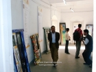 Nepal, Central Region, Bagmati Zone, Kathmandu, Bal Mandir, Khulla Dhoka Exhibition: Painted doors and spectators