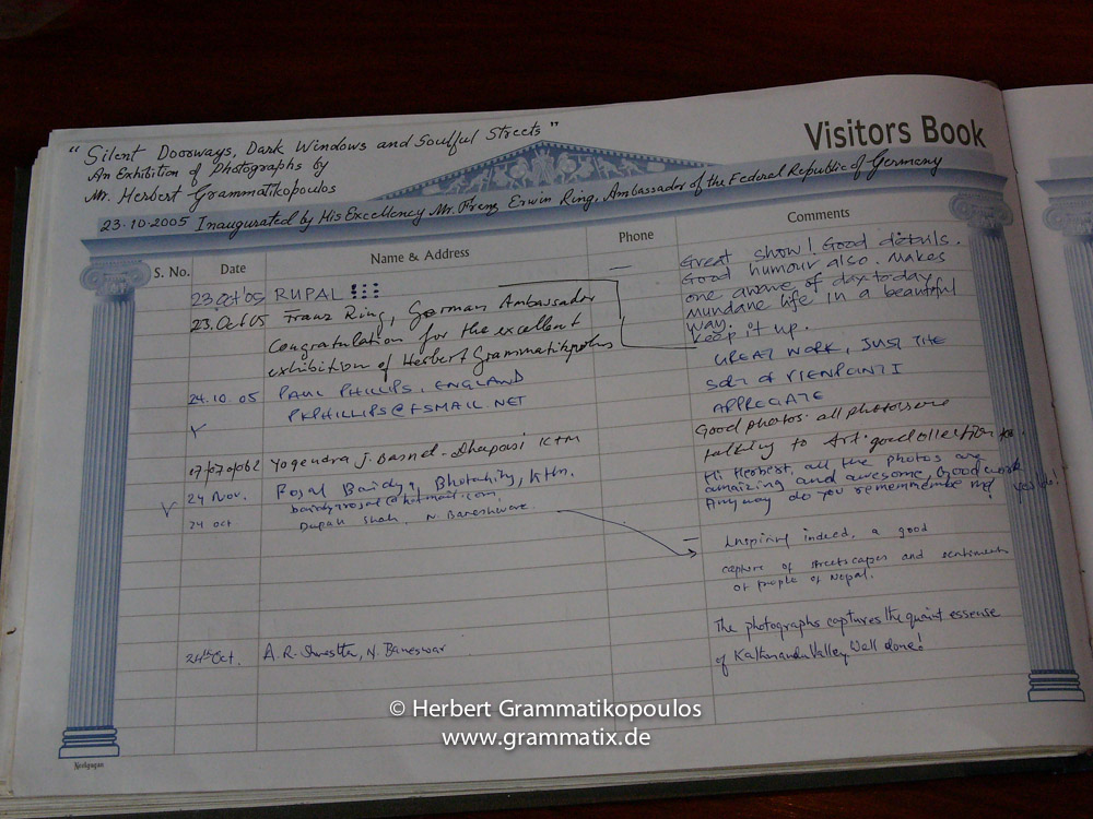 Nepal, Kathmandu, Siddhartha Art Gallery: First page of the visitors book at my first solo-exhibition in Siddhartha-Gallery