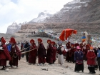 "Tibet, Purang, Tarboche (ca. 4670m), Kailash Kora: The ""Saga Dawa""-festival (enlightment of Buddha; 3rd fullmoon after the Tibetan new year) in the south of valley Lha Chu river (River of Gods); the monks of Gyangdrak monastery (north of Darchen) doing their final prossecion after errecting of the pole"
