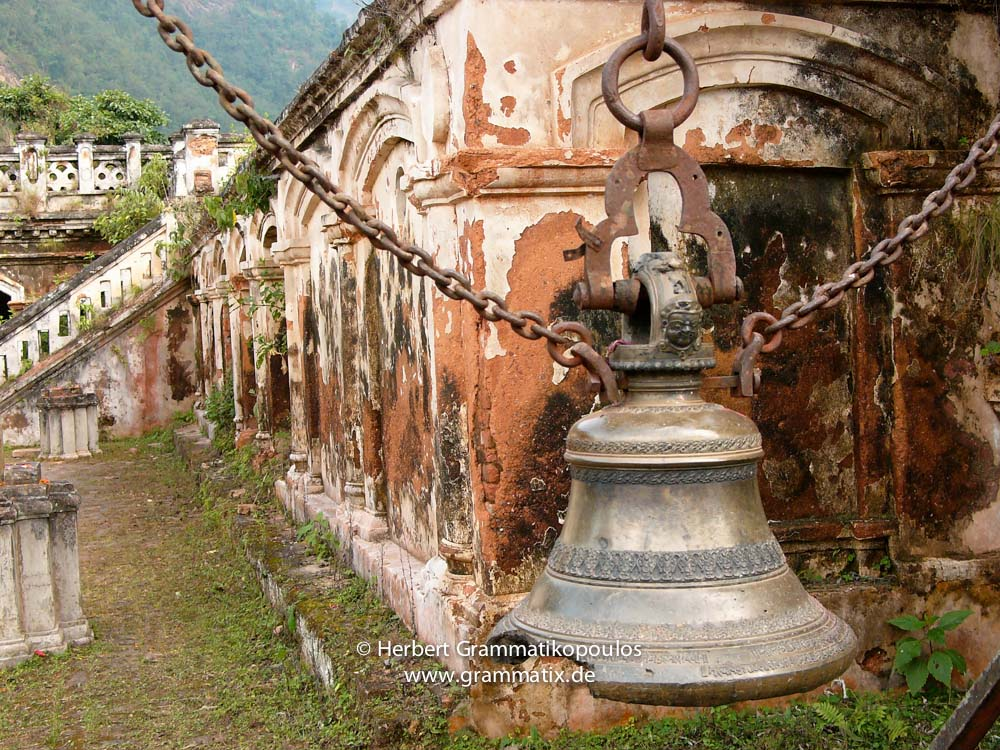 Nepal, Western Region, Lumbini Zone, Palpa District, Tansen: A broken bell at the Rangighat Palace, Rani Mahal (called the Nepalese 'Taj Mahal'). 1893-96 built by Khadga Shamsher J.B.Rana for rememberance his wife Tej Kumari