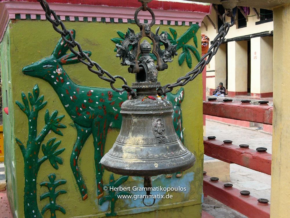 Nepal, Western Region, Lumbini Zone, Palpa District, Ridi: Deer and bell at the Rishikesh-Mandir