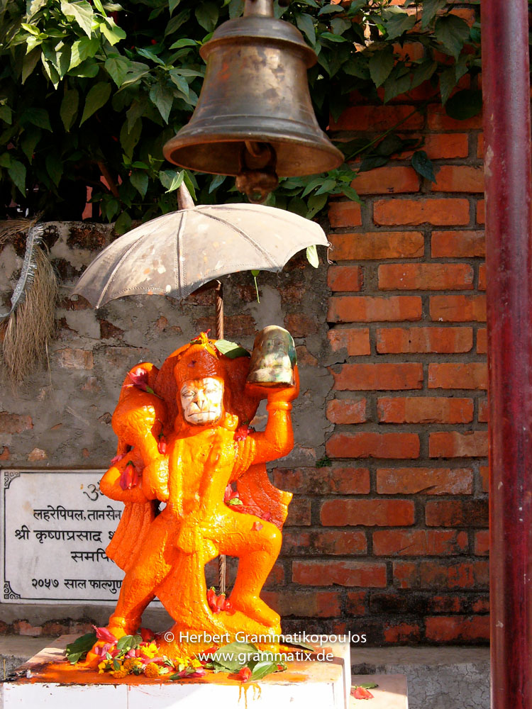 Nepal, Western Region, Lumbini Zone, Palpa District, Tansen: Hanuman statue at Silkhan near the cinema hall