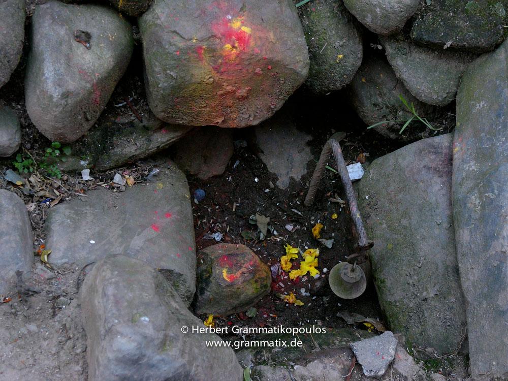 Nepal, Central Region, Bagmati Zone, Kathmandu, Sankhu: A little shrine near the gaths at the east of the town
