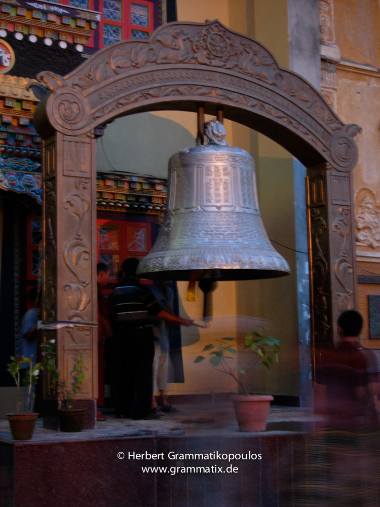 Nepal, Central Region, Bagmati Zone, Kathmandu, Bhouda: The new big Teleju-bell  opposit the northern stairs to the stupa