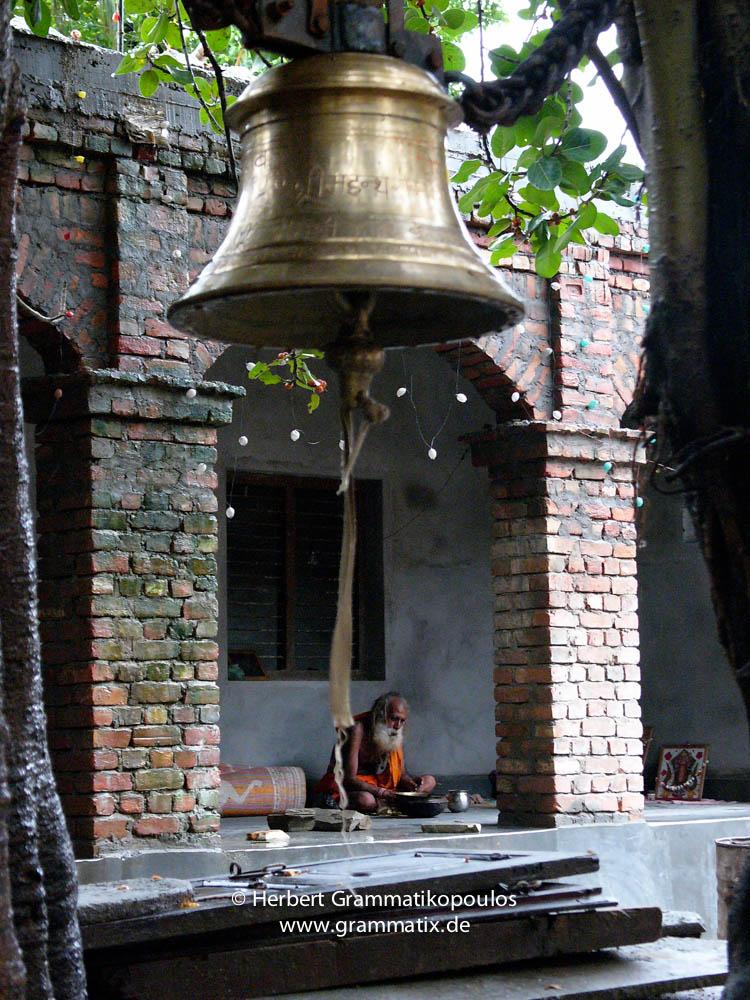 Nepal, Central Region, Janakpur Zone, Janakpur, Ram-Mandir: Inside the temple, a sadhu taking his meal