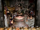 "Nepal, Central Region, Bagmati Zone, Dakshinkali Mandir: The big bell at a ceremony at the occassion of ""Janai Purnima"". The temple is dedicated to the gory goddess Kali"