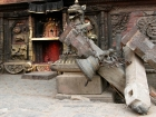 Nepal, Central Region, Bagmati Zone, Bhaktapur District, Bhaktapur, Taumadhi Square: Broken construction of the Taleju-bell in front of Bhairabnath temple