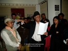 "Nepal, Kathmandu, Kamaladi, Gallery 32, inauguration of the exhibition ""Bells - Silence and Sounds"": Manjul reading one of his poems on bells"
