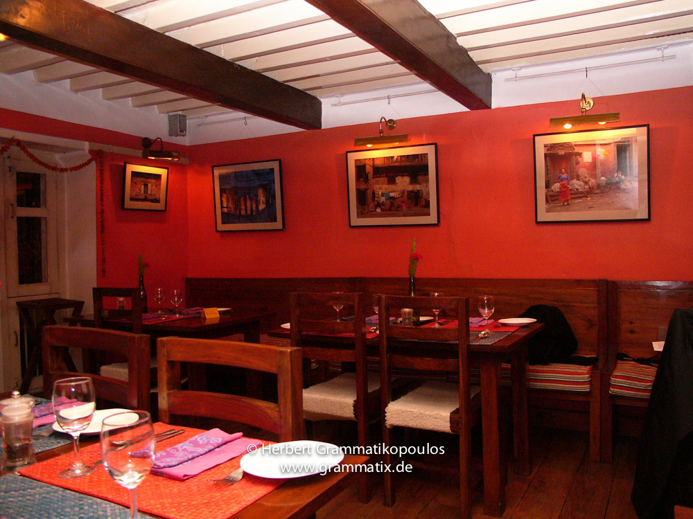 Nepal, Central Region, Bagmati Zone, Kathmandu, Thamel, Cafe Mitra: Hanging of my photographs in one of the best and most exclusive restaurants of Kathmandu