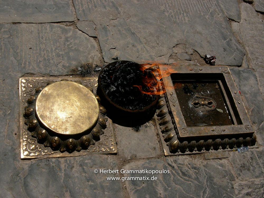 Nepal, Central Region, Bagmati Zone, Kathmandu, Swayambhunath: Religious objects in the bottom at the eastern side of the stupa
