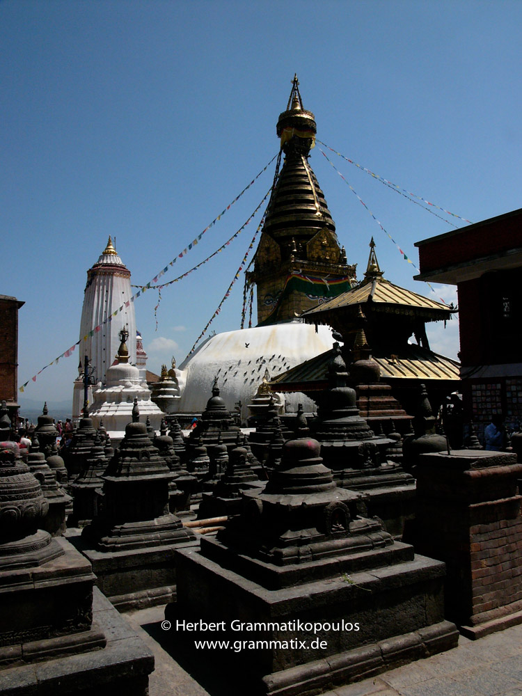 Nepal, Central Region, Bagmati Zone, Kathmandu, Swayambhunath: The Stupa, at the left  Pratapura Shikhara, view to the east