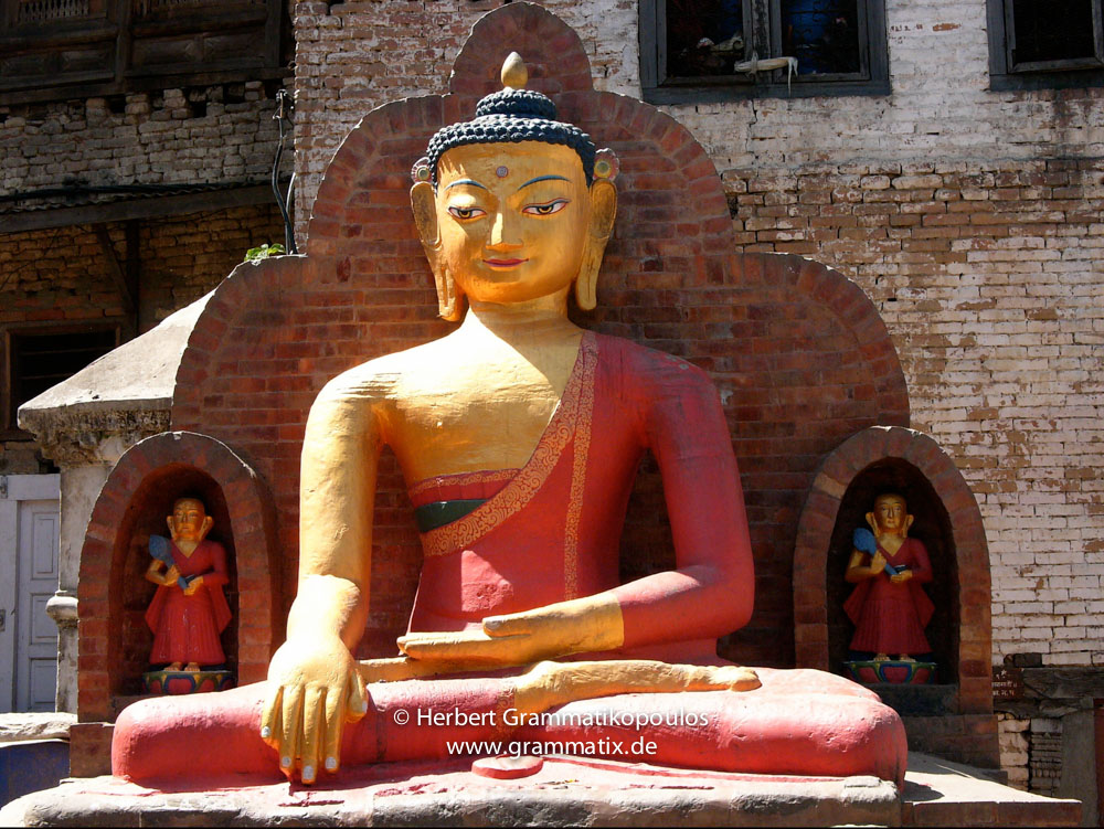 Nepal, Central Region, Bagmati Zone, Kathmandu, Swayambhunath: Yellow Buddha at the Shantipura Buildings at the north of the compound