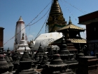 Nepal, Central Region, Bagmati Zone, Kathmandu, Swayambhunath: The Stupa, at the left  Pratapura Shikhara, view to the east