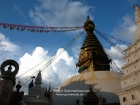 Nepal, Central Region, Bagmati Zone, Kathmandu, Swayambhou: The great stupa in the evening sun