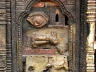 Nepal, Central Region, Bagmati Zone, Bhaktapur District, Bhaktapur, Taumadhi Square: Detail of a shrine at the Bhairabnath Temple