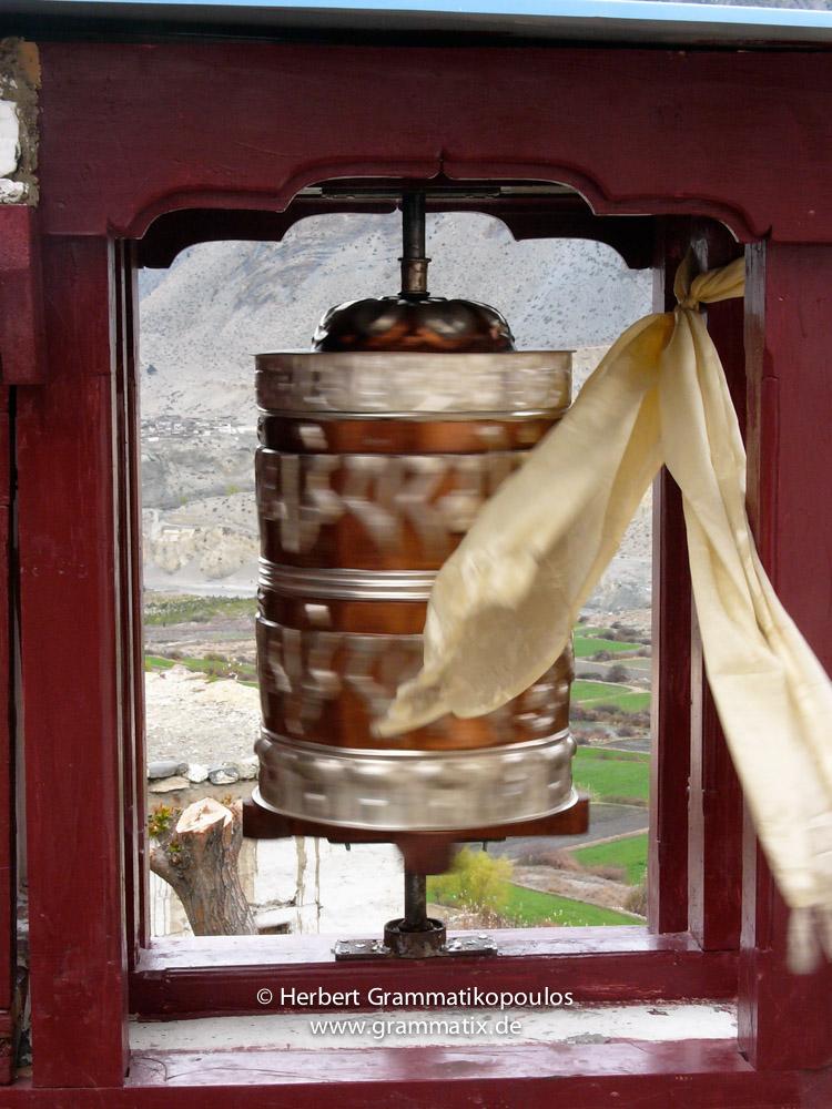 Nepal, Western Region, Dhaulagiri Zone, Lower Mustang, Jomson-Thini: Prayerwheel near Thini