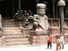 Nepal, Central Region, Bagmati Zone, Bhaktapur, Dattatraya Square: Children playing in front of the  Bhimsen Temple