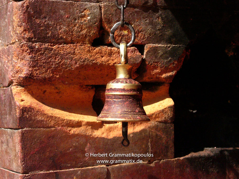 Nepal, Central Region, Bagmati Zone, Changu Narayan: A frequently used bell at the northern side of the temple complex