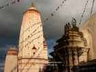 Nepal, Central Region, Bagmati Zone, Kathmandu, Swayambhunath: Pratapura Shikhara at the north-western corner of the complex and the Tara shrine of the stupa