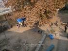 India, Kashmir, Srinagar, Khoj International Artists Workshop 2007: View on the garden; my work on the ground, starting at Showkats Bunker (25m long)