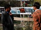 "India, Kashmir, Srinagar, Khoj International Artists Workshop 2007: Visitor at the installation ""Fragile Hope"" of H.Grammatikopoulos (Greece)"
