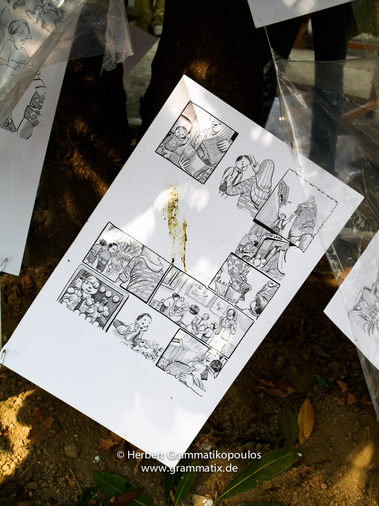 India, Kashmir, Srinagar, Khoj International Artists Workshop 2007: Installation of Malik Jasad (Srinagar), student at the Fine Arts College and cartoonist for daily newspapaers