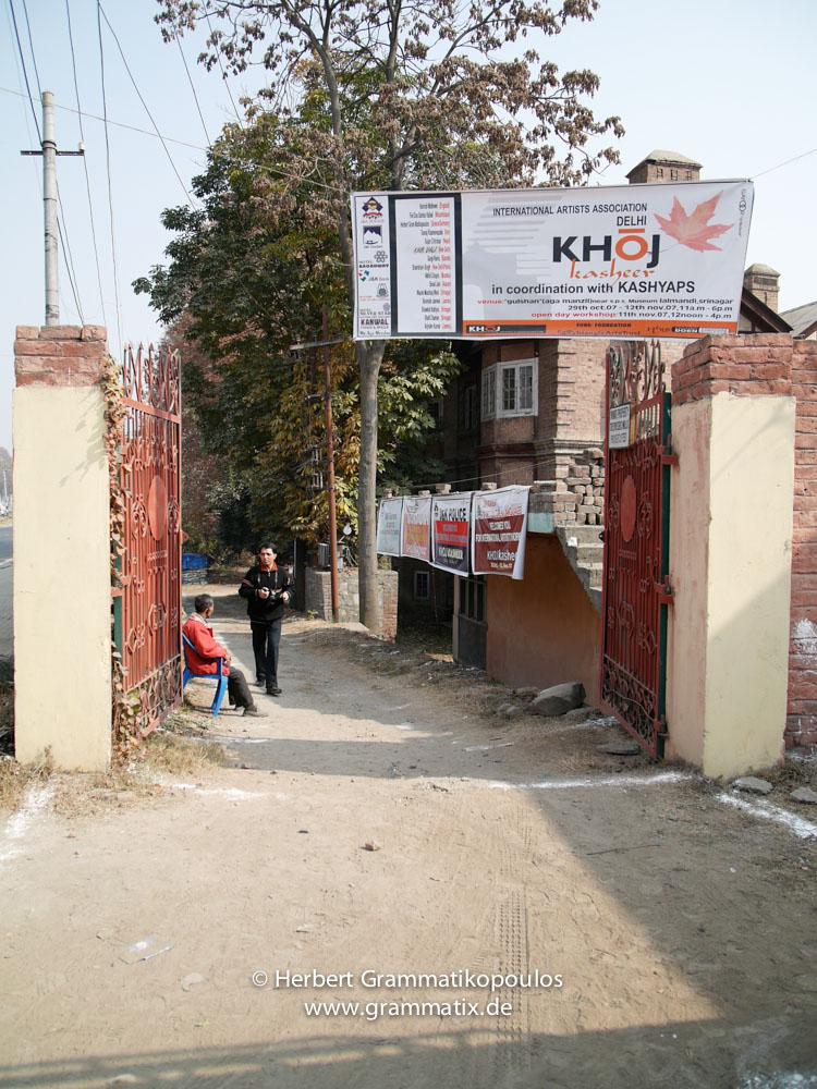 India, Kashmir, Srinagar, Khoj International Artists Workshop 2007: Entrance to the compound of the exhibition