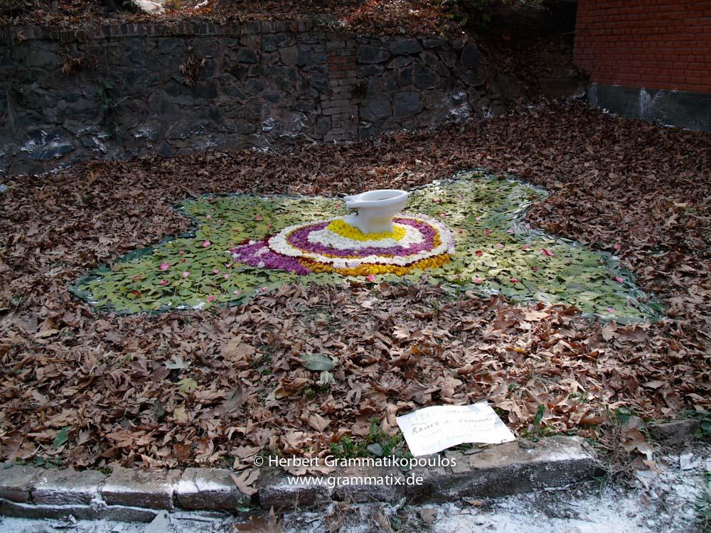 India, Kashmir, Srinagar, Khoj International Artists Workshop 2007: Installation of Ramiez Jamshid; notice the shape of the flowers, looking like the map of Kashmir