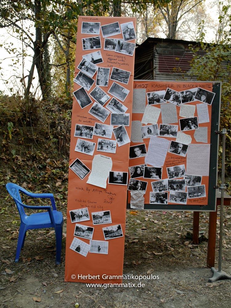 India, Kashmir, Srinagar, Khoj International Artists Workshop 2007: Attiya Thakur's installation with photographs and handwritten letters of the participians