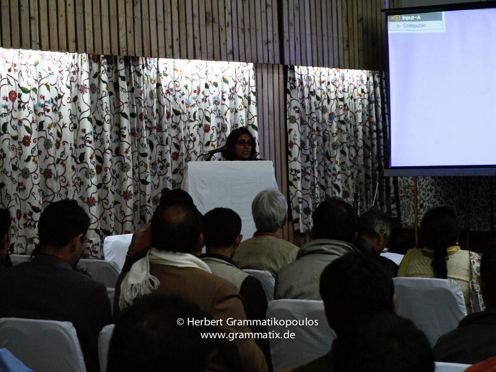 India, Kashmir, Srinagar, Khoj International Artists Workshop 2007: Pooja Sood at the final conclusion at Broadway Hotel