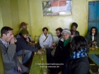 India, Kashmir, Srinagar: Khoj International Artists Group in a teashop in Mattan, Anantnag District (l.t.r.: Showkat Kathjoo, Sonal Jain, Sujan Chitrakar, Wasim Mustaq Wani, Nikhil Chopra, Gargi Raina, Aastha Chauhan, Fiel dos Santos Rafael and Shambhavi Singh