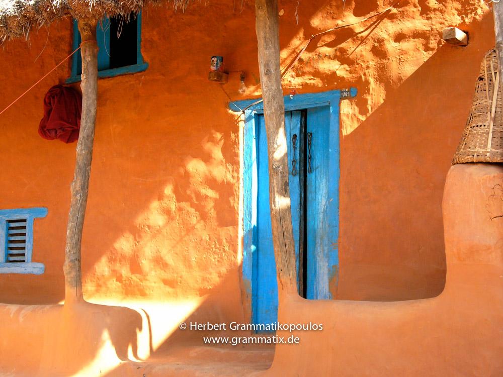 Nepal, Western Region, Lumbini Zone, Palpa District, Naya Hortia: Detail of a traditional clay house in a village between Bagnas and Maidan Dada