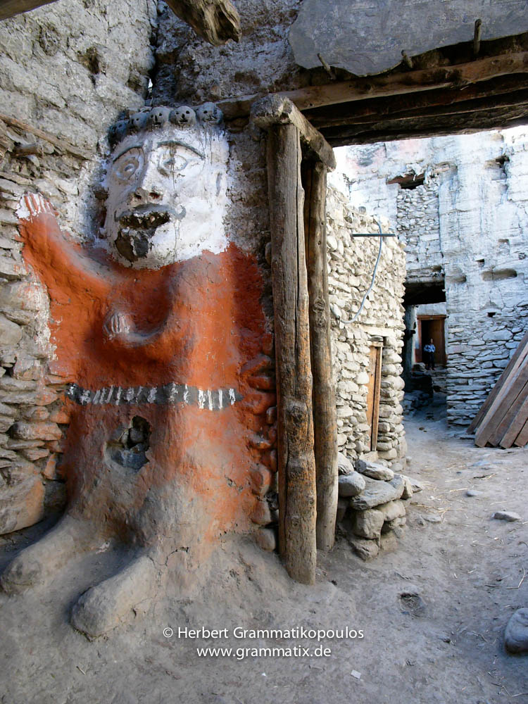 Nepal, Western Region, Dhaulagiri Zone, Lower Mustang, Kagbeni: Guard at the old castle