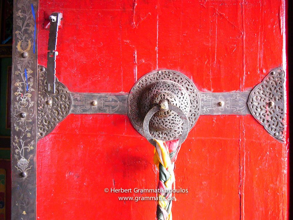 "Tibet, Lhasa, Drepung Monestary: Detail of a door, first building of the ""Ganden Palace"""