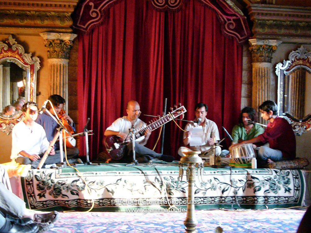 "Nepal, Central Region, Bagmati Zone, Kathmandu, Bal Mandir, Khulla Dhoka exhibition, inauguration ceremony: The classical music band ""Sukarma"" set three of the poems used in the exhibition to music"